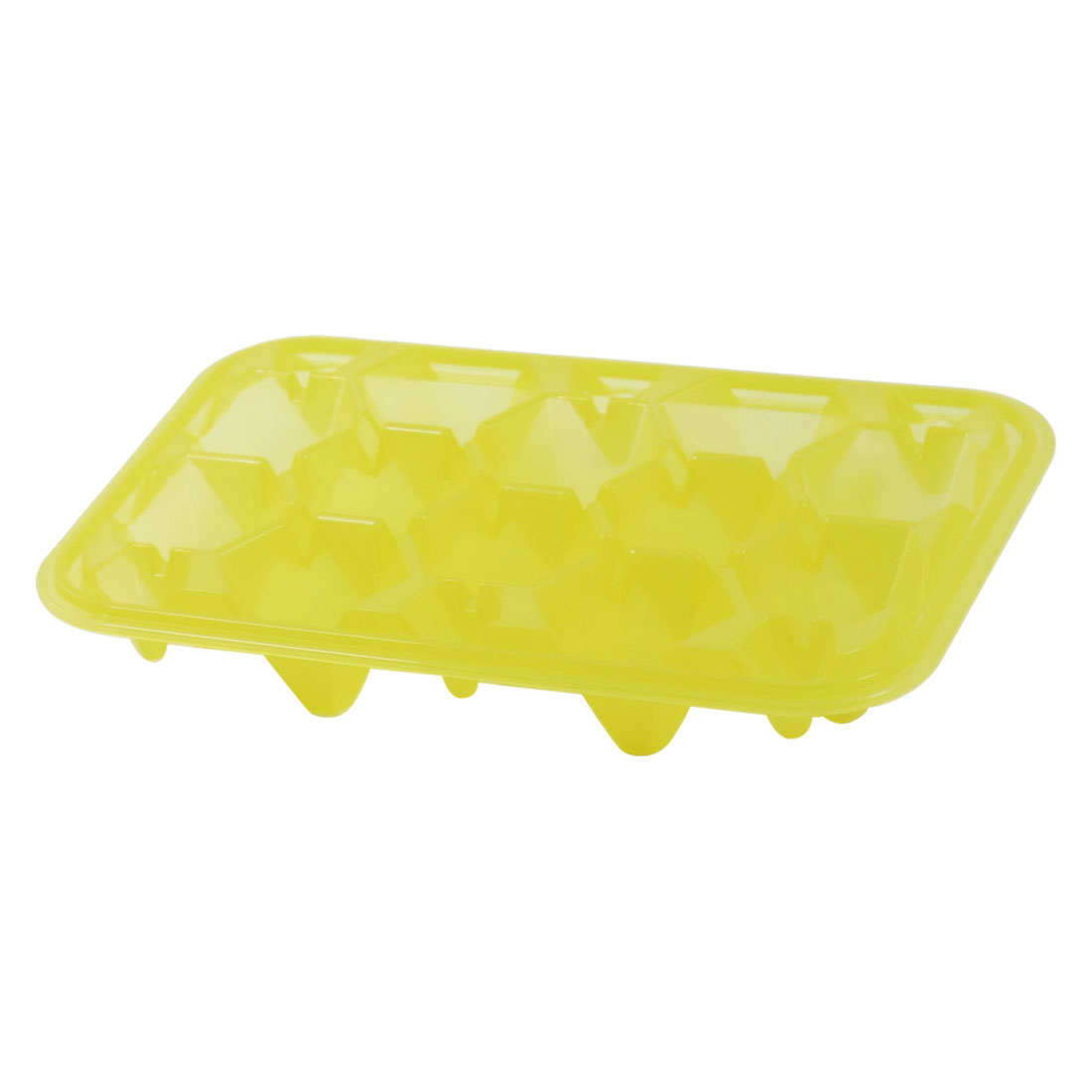 Clear Yellow Plastic Polygon Shaped Slots 12 Sections Ice Cube Mold Case