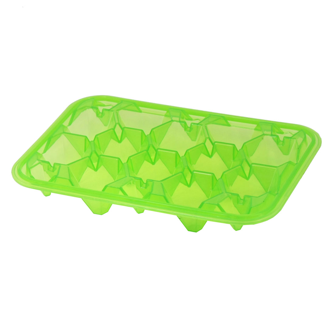 Clear Green Plastic Polygon Shaped Slots 12 Compartments Ice Cube Mould Tray