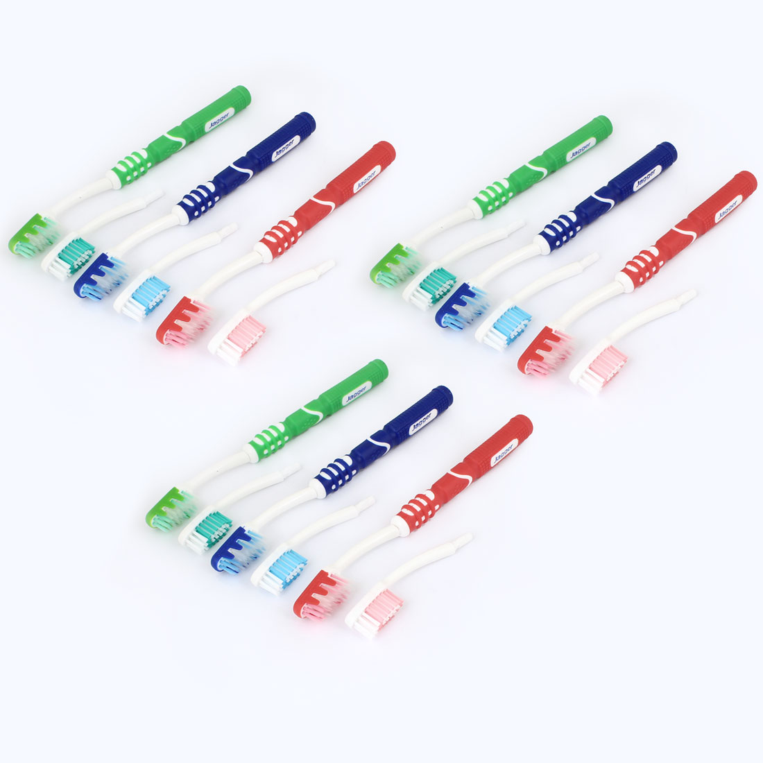 12pcs Assorted Color Soft Bristle Toothbrush w Replacement Brush Head