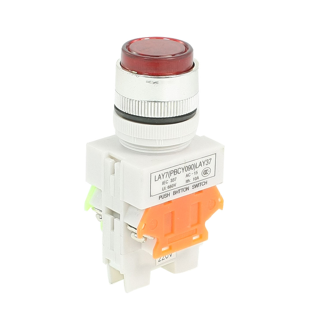 660VAC 10A 1NO 1NC DPST Red Momentary Push Button Switch w AC 220V LED Lamp