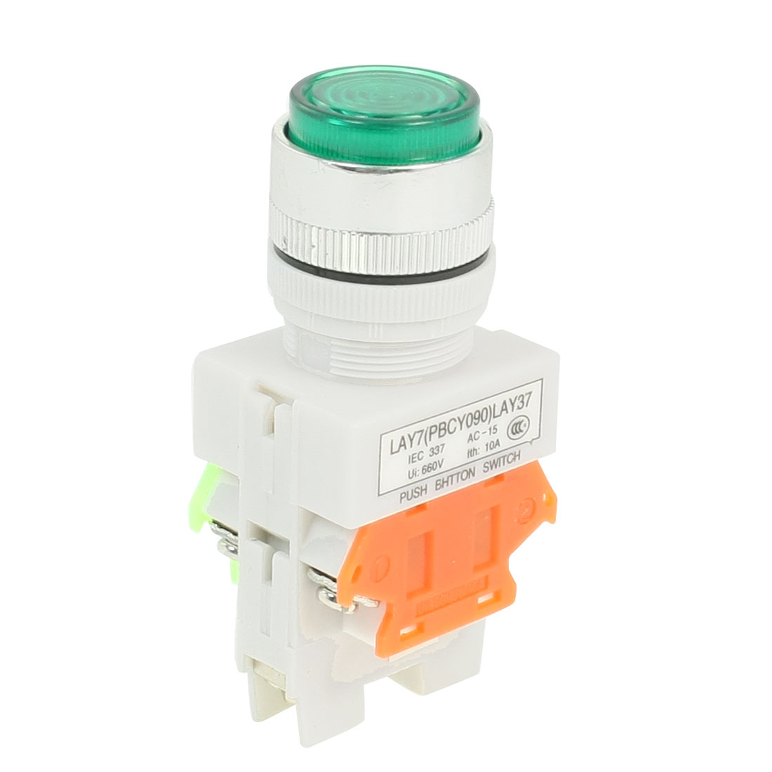 660VAC 10A 1NO 1NC DPST Green Momentary Push Button Switch w AC 220V LED Lamp