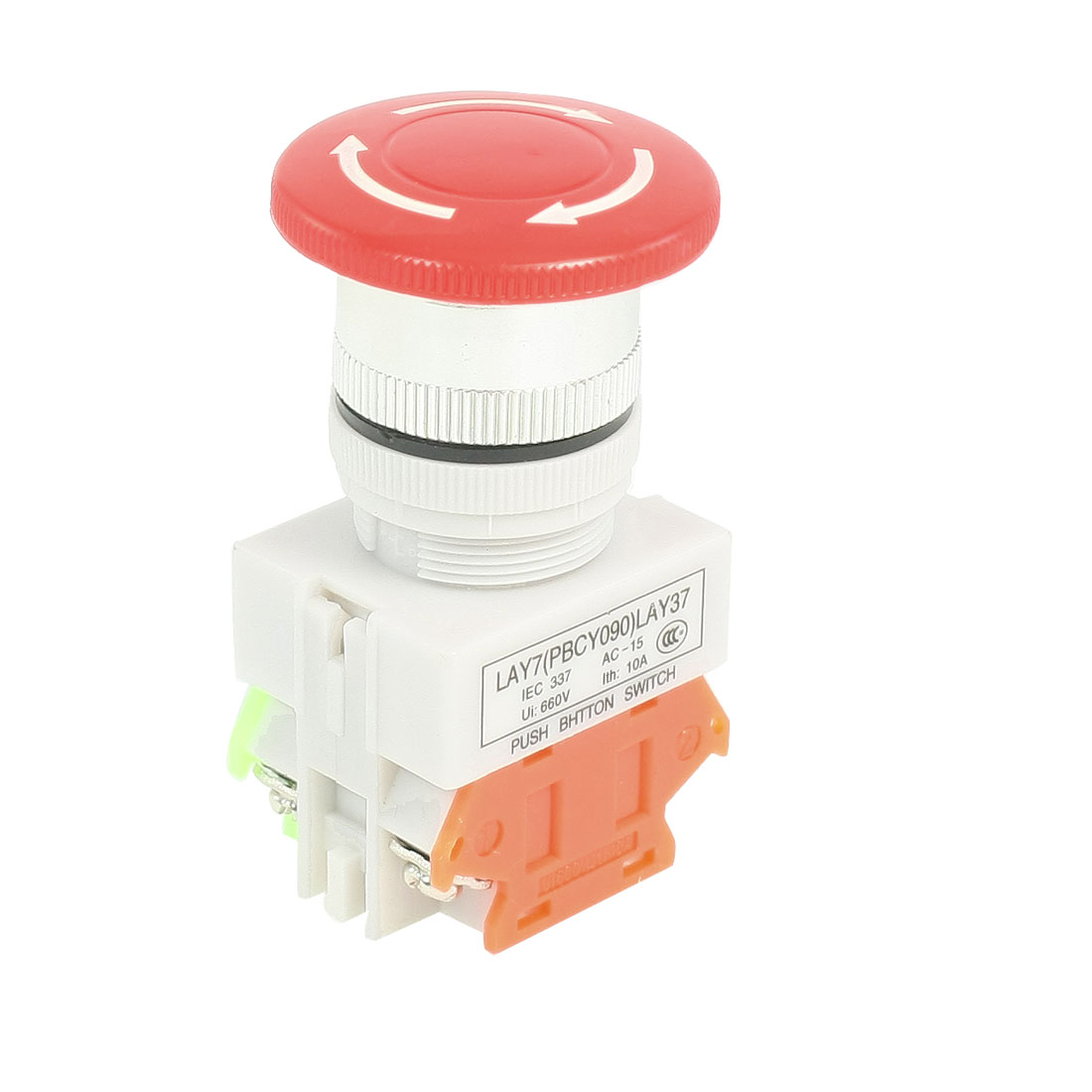 AC 660V 10A 1NO 1NC DPST Red Mushroom Latching Emergency Stop Push Button Switch