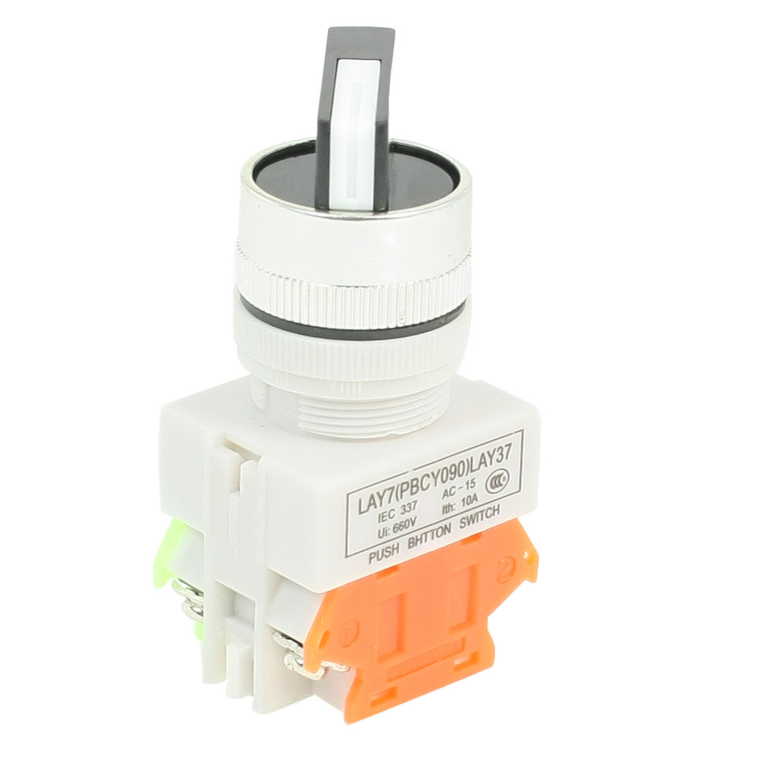 AC 660V 10A 2NO DPST 2 Position Rotary Selector Self-Locking Push Button Switch