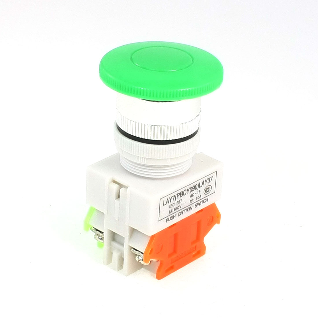 AC 660V 10A Panel Mounted DPST Momentary Green Mushroom Push Button Switch