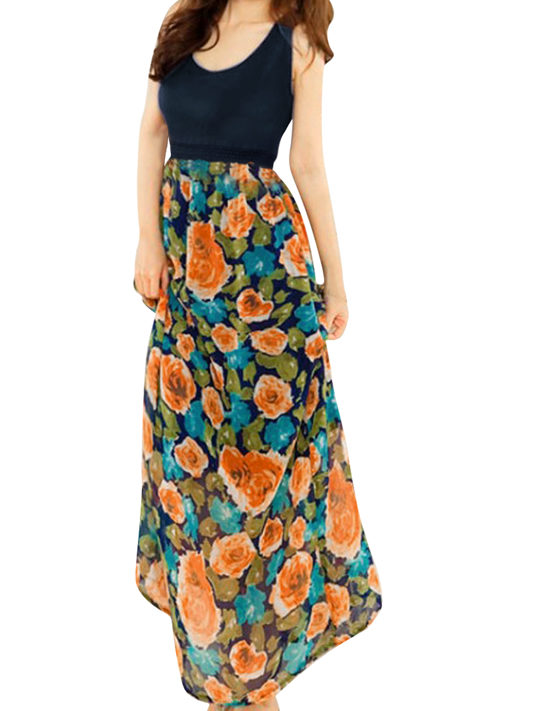 Lady Newly Sleeveless Floral Pattern Dark Blue Splice Maxi Dress L