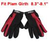 2 Pieces Hook Loop Fastener Antislip Sports Full Finger Gloves Black Red