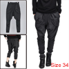 Man Korean Stylish Zippered Slant Pockets Loose Harem Pants Dark Gray W34