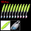 10 Pcs Green Clear Foldable Plastic Non Slip Handle Teeth Cleaning Toothbrush