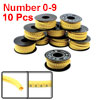10 Rolls Yellow Flexible PVC Arabic Number 0-9 Print 1.5mm2 Wire Cable Markers