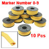 10-Roll Yellow Flexible PVC Arabic Number 0-9 Print 2.5mm2 Wire Cable Markers