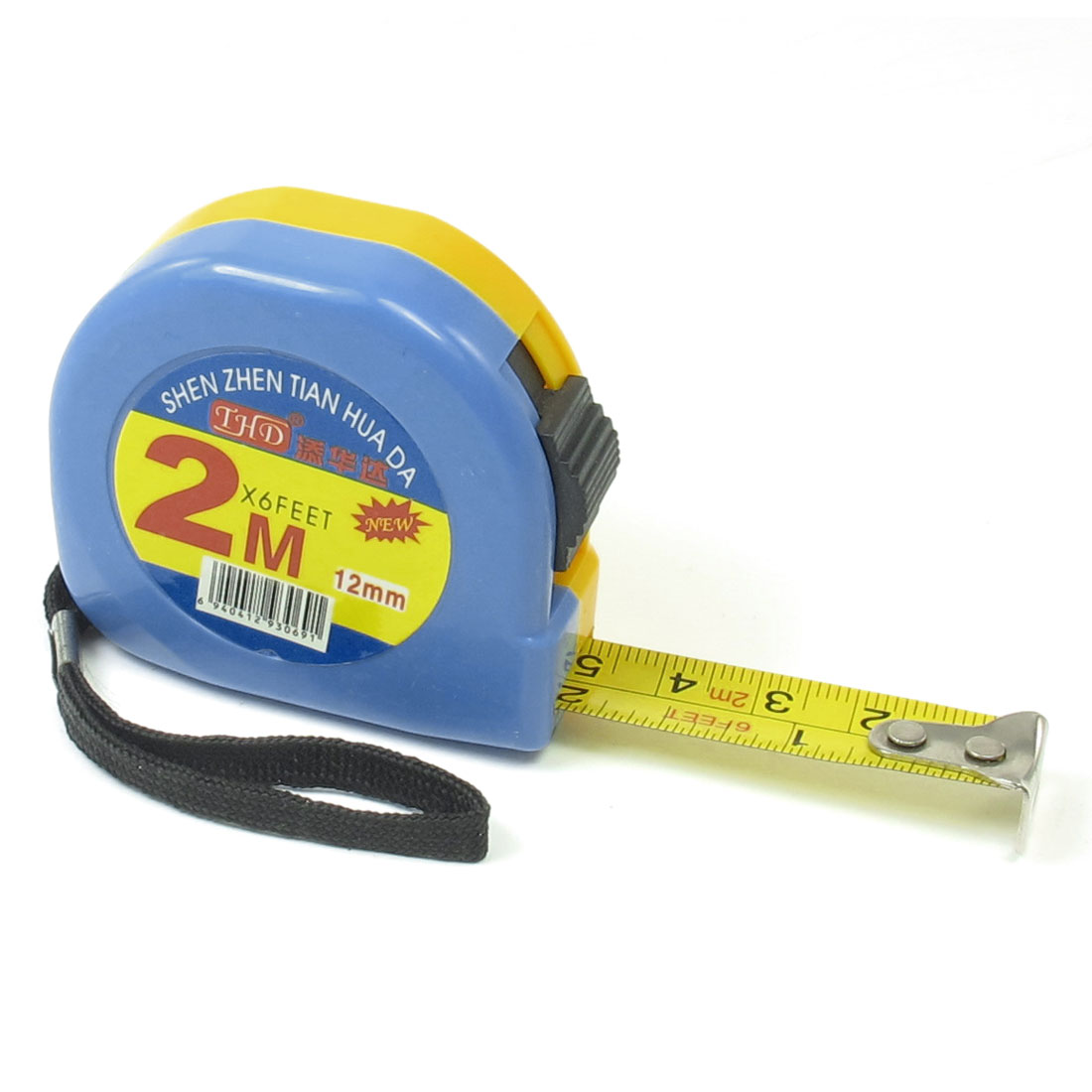 Yellow Blue Plastic Housing Dual Scale Retractable Tape Measure 2M