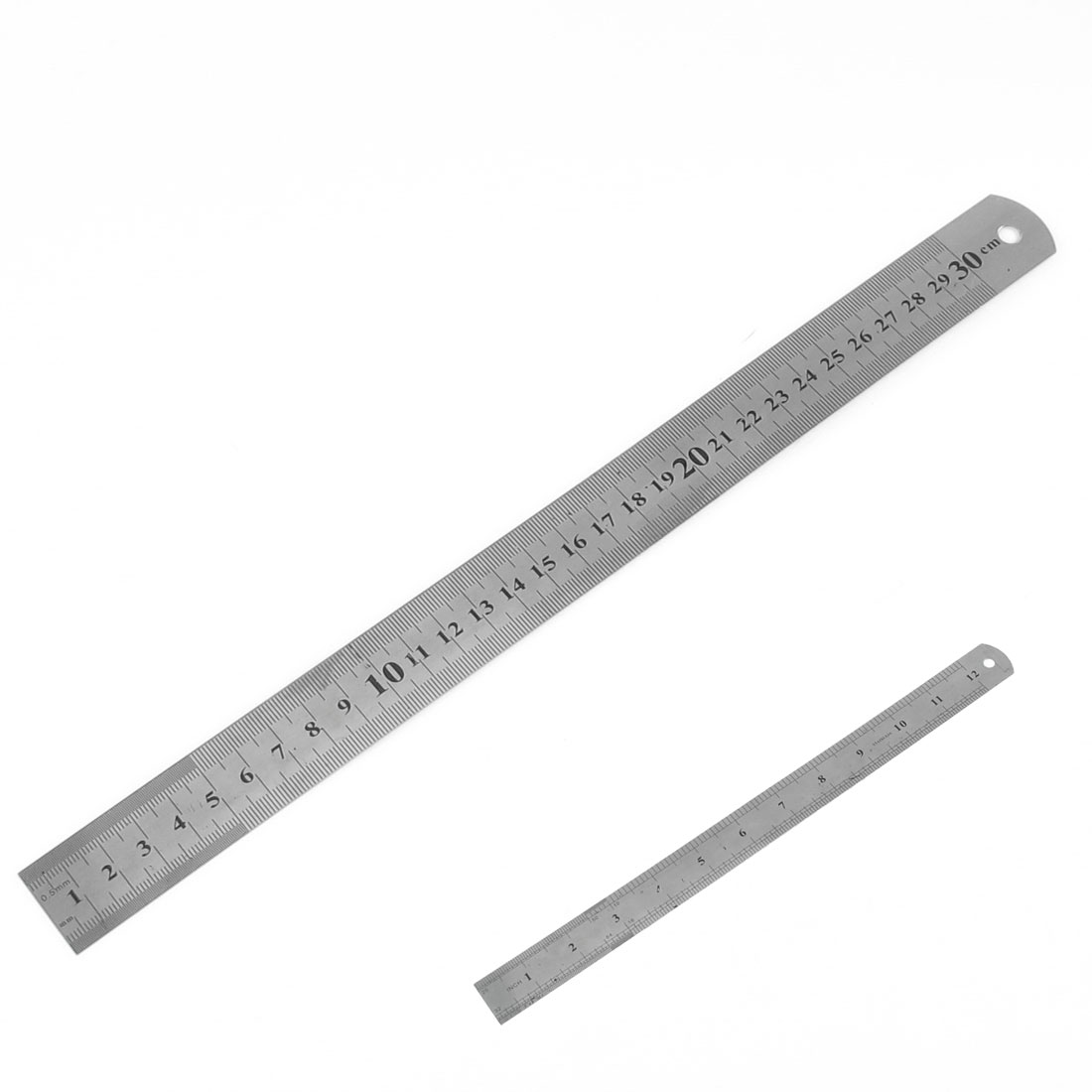 Silver Tone Stainless Steel Workshop Factory Dual Scale Ruler