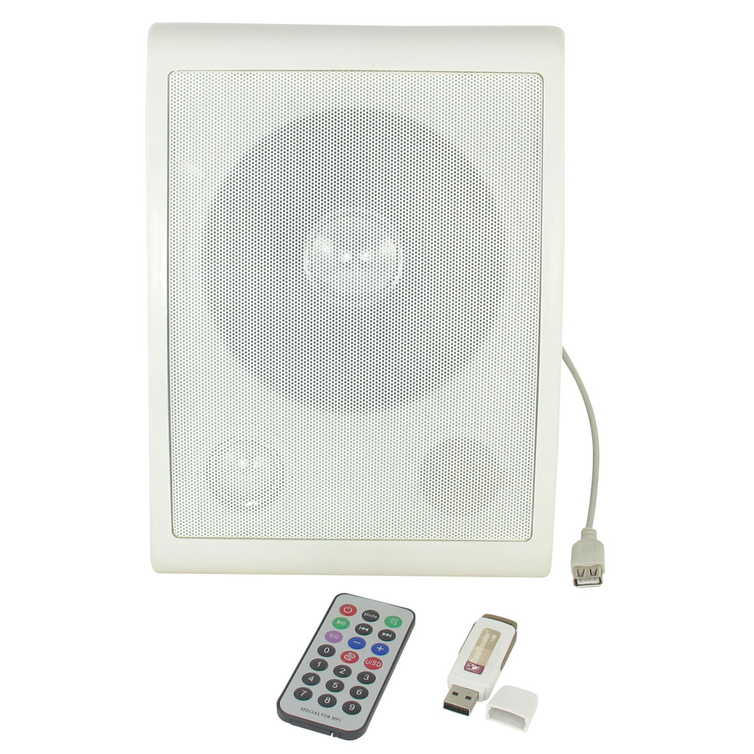 AC 220V White Retangle MP3 Wall Mounted Speaker w Remote Flash Disk