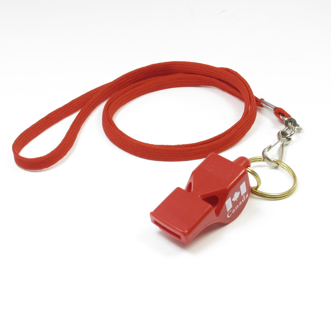 Sports Referee Game Red Nylon Lanyard Keyring Spring Hook Whistle