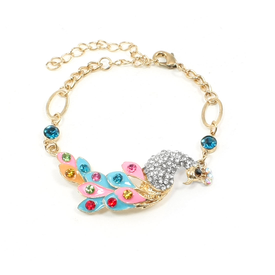 Gold Tone Colorful Rhinestones Peacock Design Chain Bracelet Jewelry for Girl
