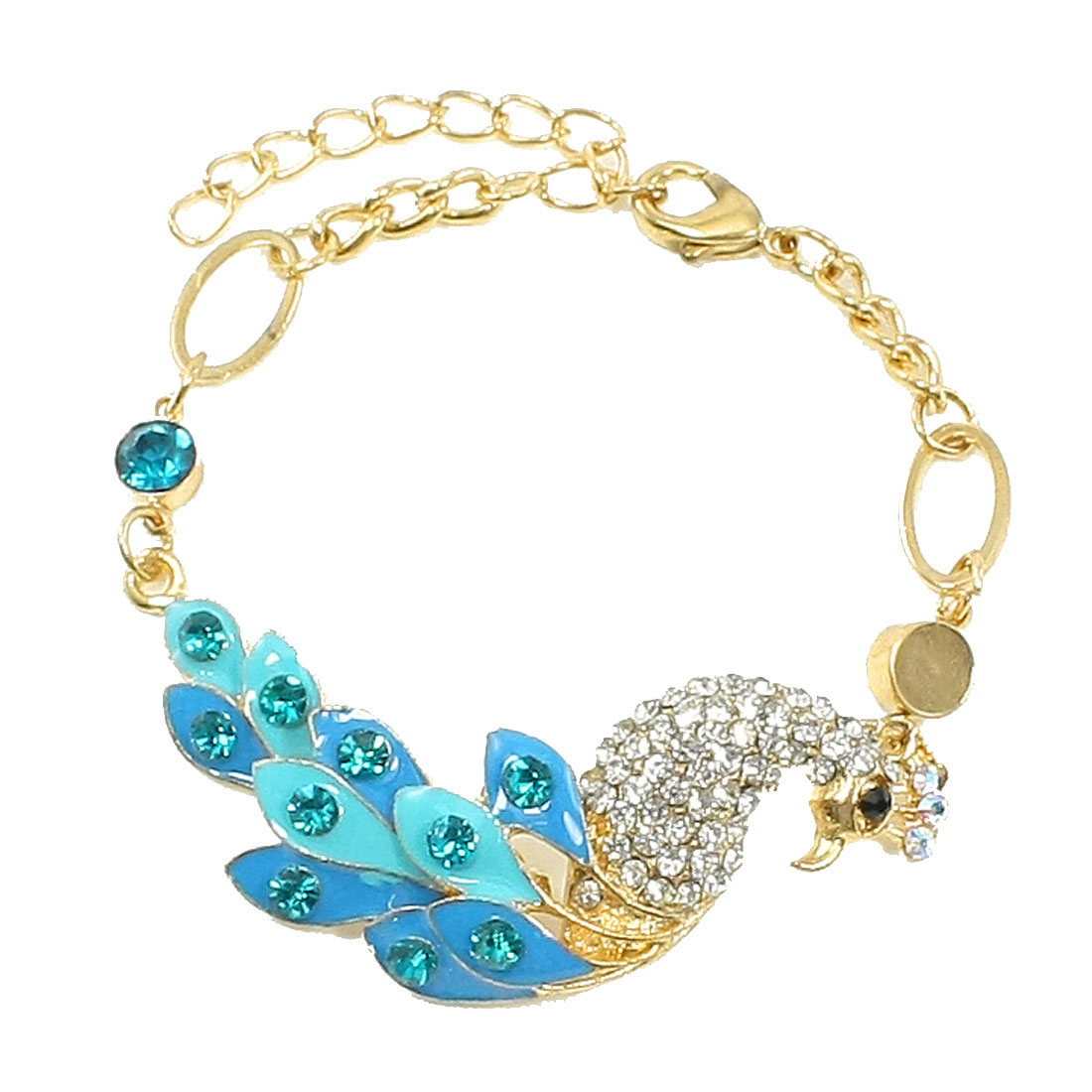 Gold Tone Turquoise Rhinestones Inlaid Peacock Wrist Bracelet Chain for Girl