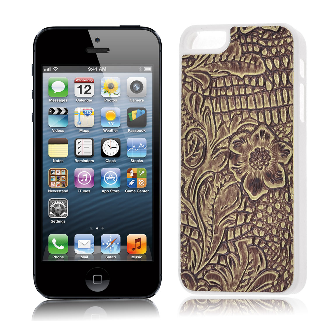 Floral Pattern Hard Back Case Cover Brown for iPhone 5 5G 5th Gen
