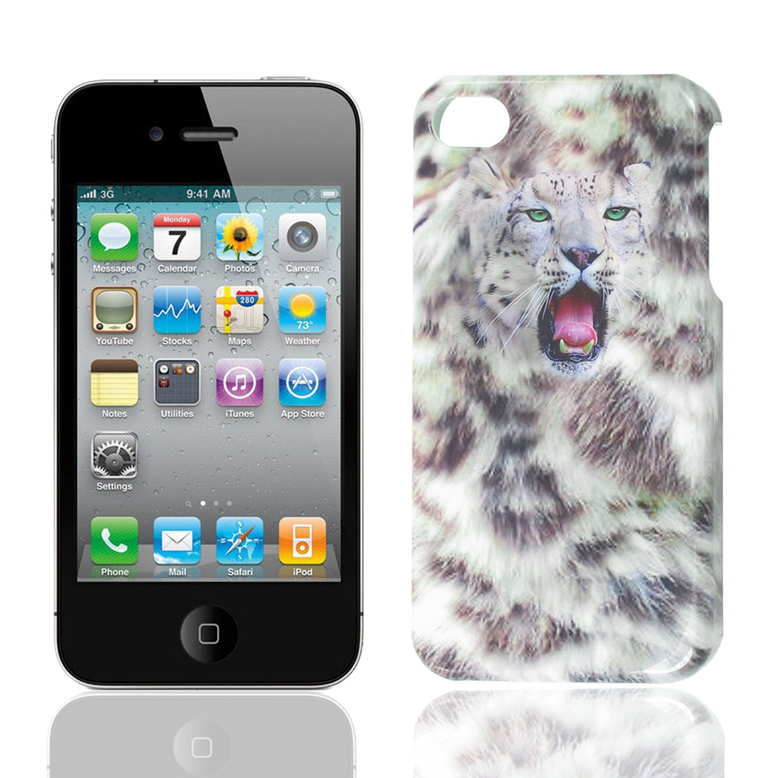 White Gray Leopard Print Back Case Cover for Apple iPhone 4 4S 4G 4GS