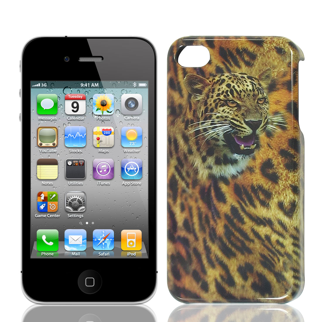 Black Yellow Gray Hard Plastic Leopard Head Print Back Case for iPhone 4 4G