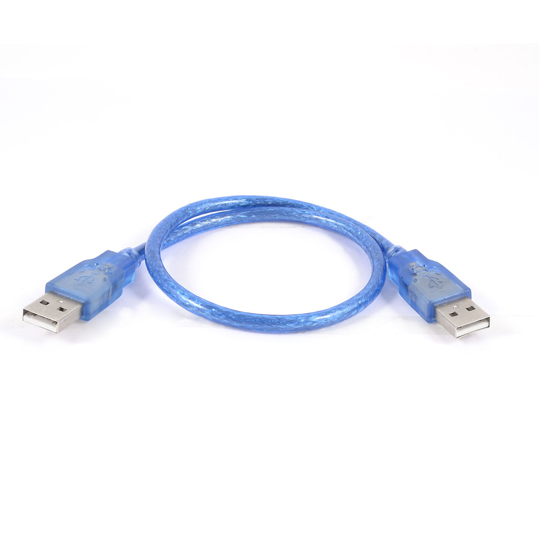 Blue Plastic Housing USB 2.0 Male to Male AM/AM Extension Cable Lead 45cm