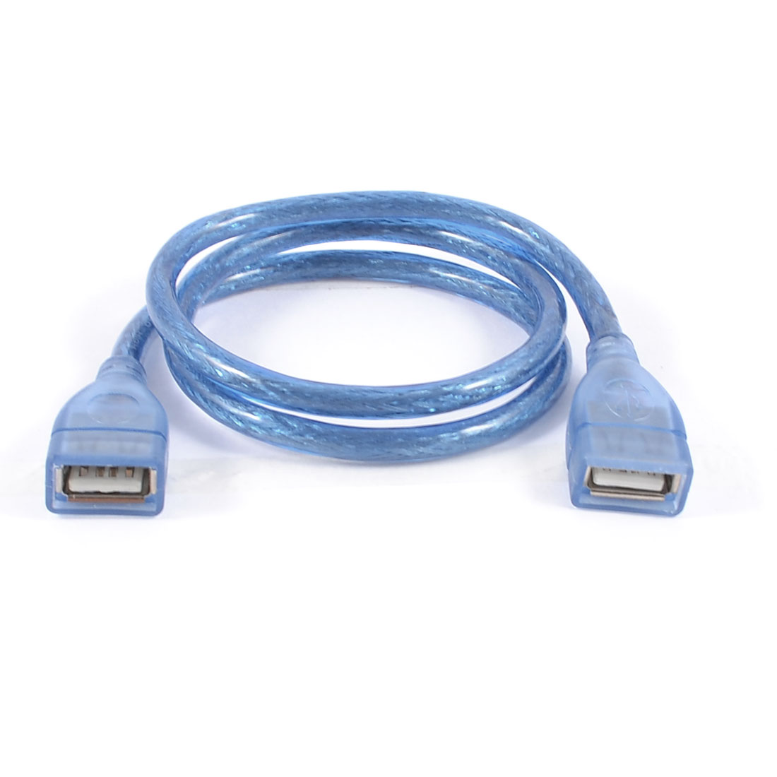 Blue Plastic Housing USB 2.0 Female to Female F/F Extension Cable Cord 60cm