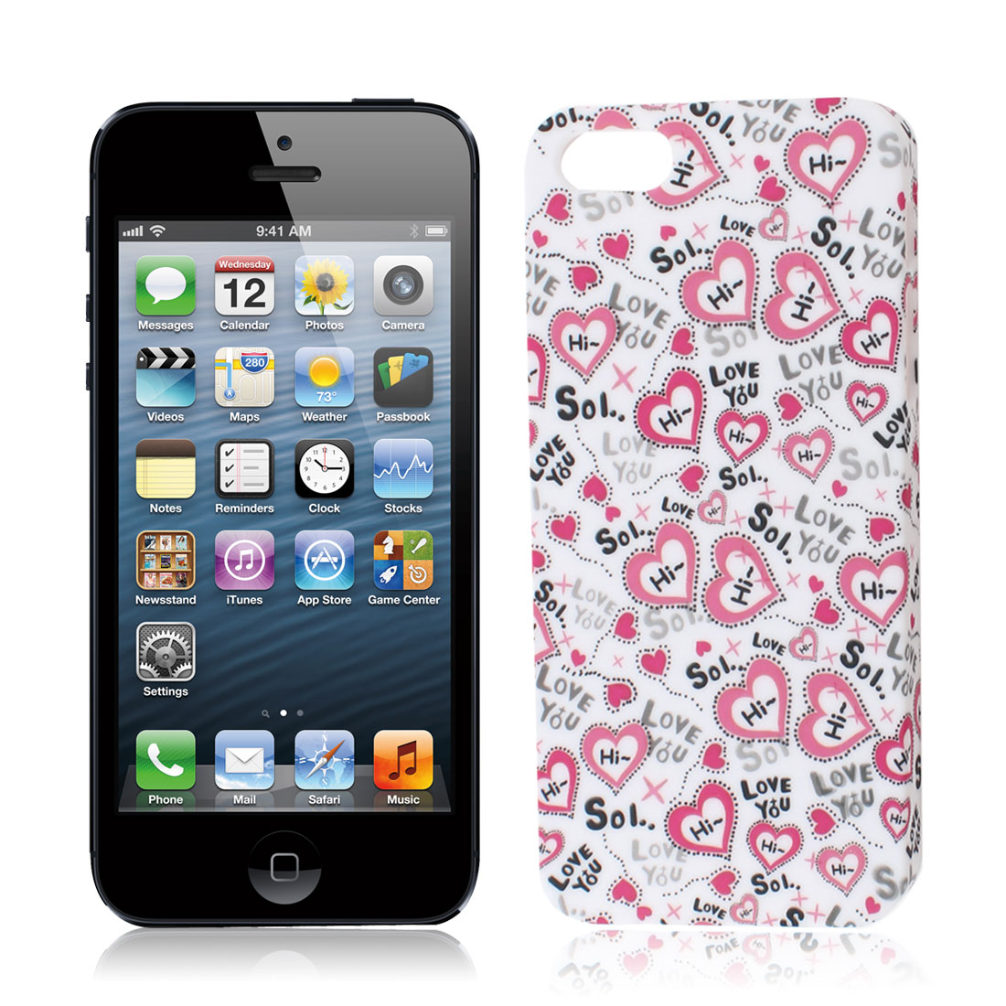 Hard Plastic White Heart Print Back Case Protector Shell for iPhone 5 5G