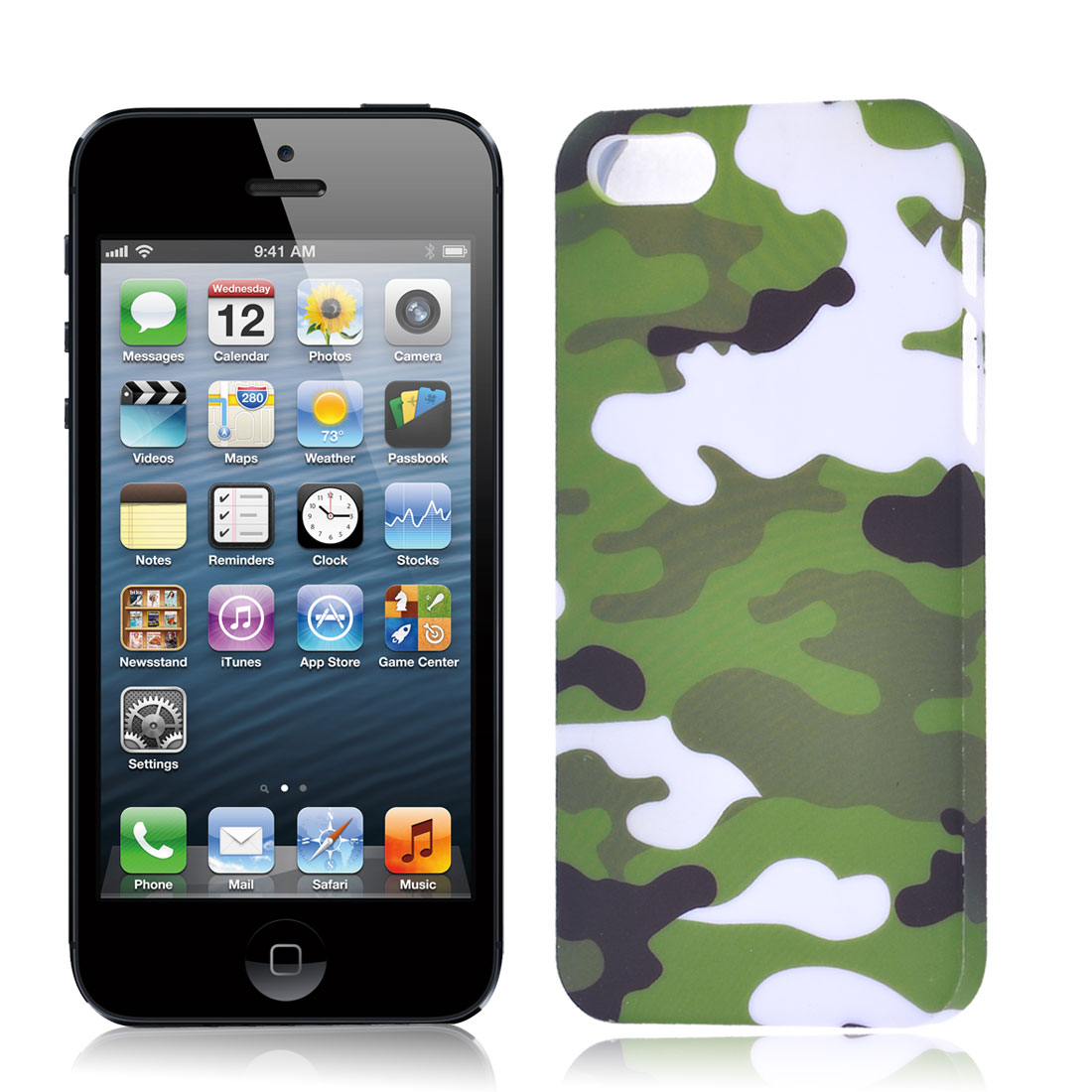 Camouflage Pattern Case Cover Protector Army Green White for iPhone 5 5G