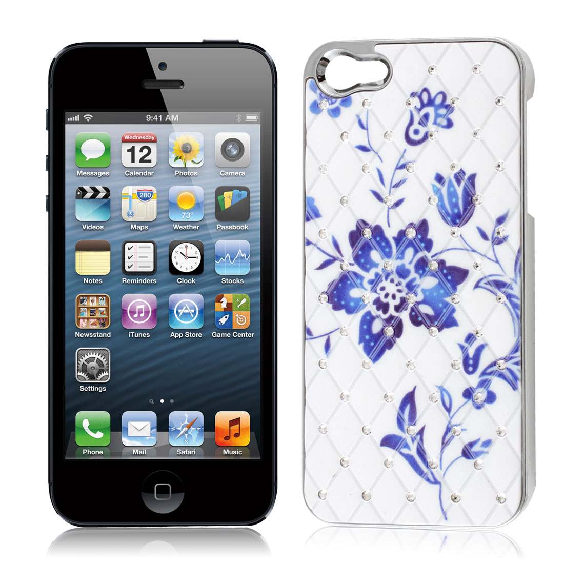 White Blue Chrome Plated Plastic Protective Back Case for iPhone 5G