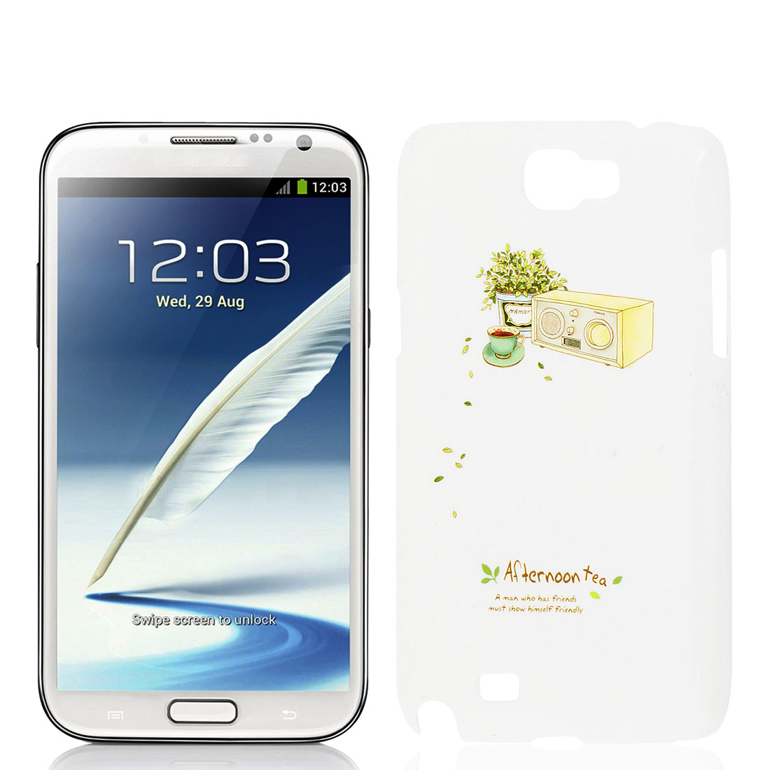 White Plastic Plant Print Back Case for SumSang GALAXY Note II N7100