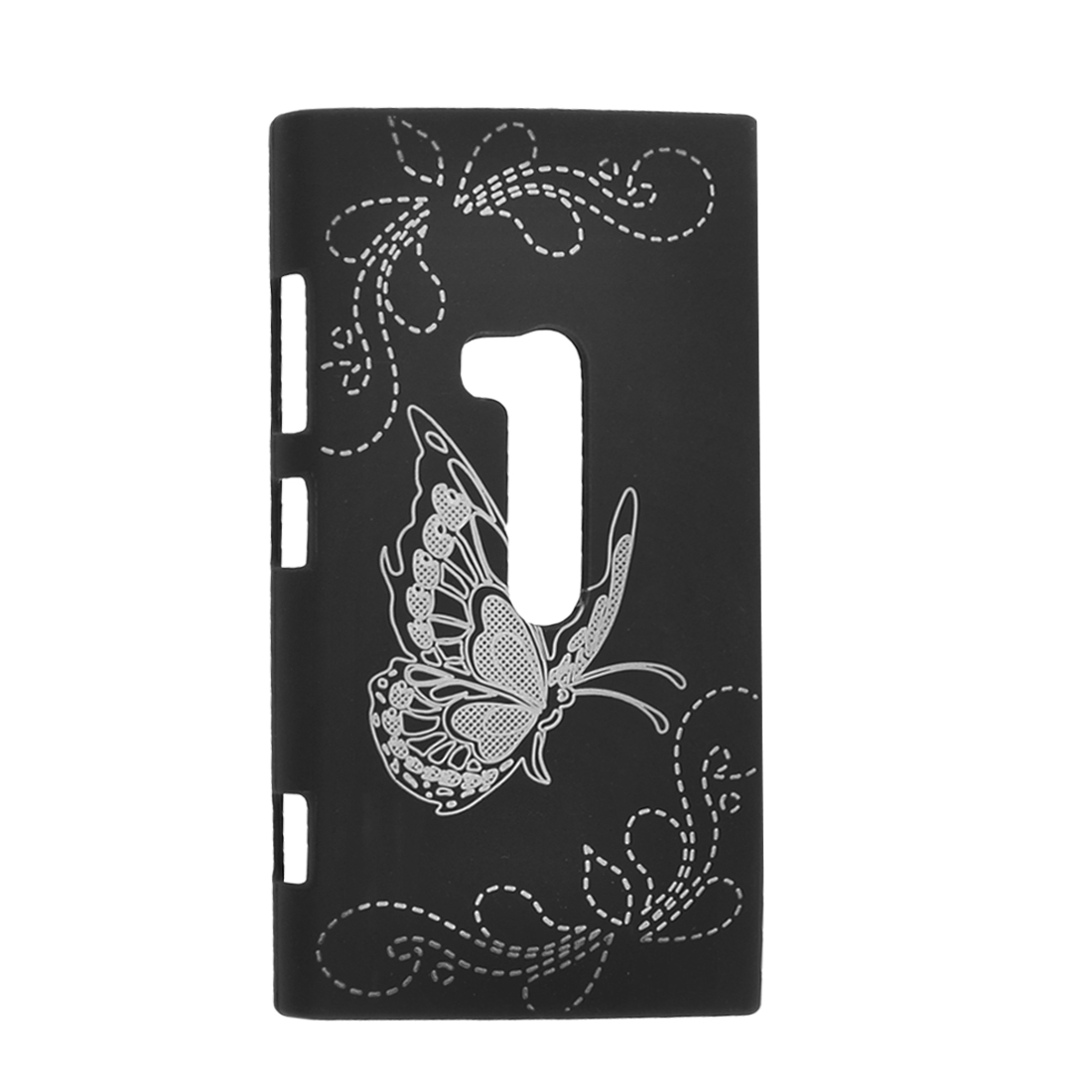 Silver Tone Floral Pattern Black Back Cover Case for Nokia N920