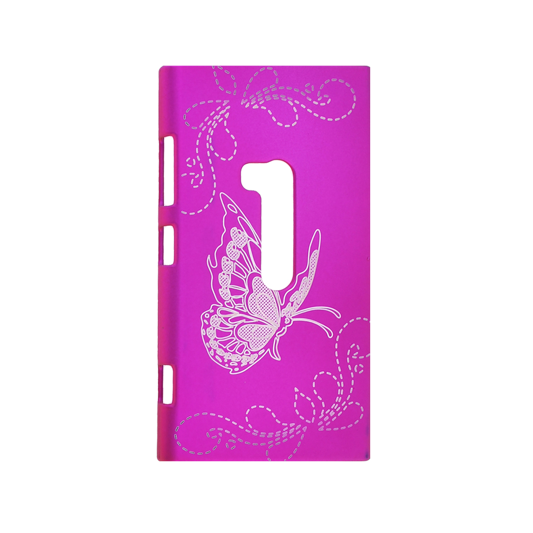 Butterfly Flower Printed Plastic Back Case Protector Fushia for Nokia N920