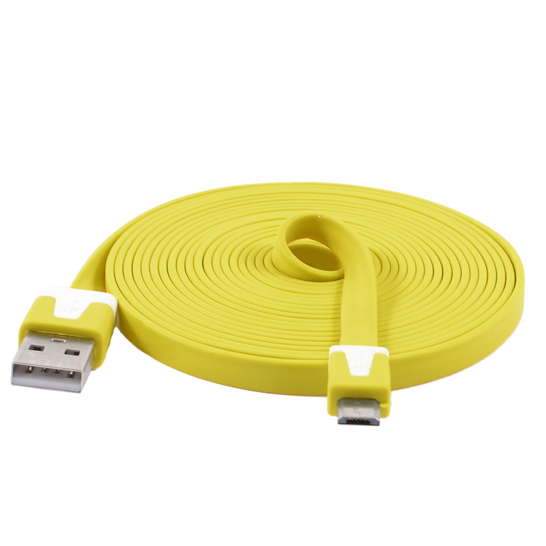 Yellow USB 2.0 to Micro USB 5 Pin Flat Data Charging Cable 3 Meters for HTC