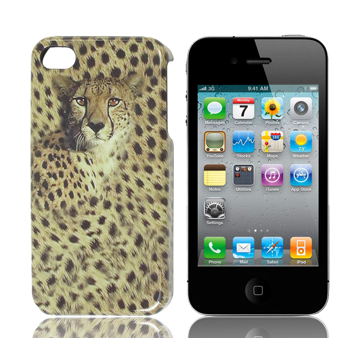 Panther Repousse Pattern Light Yellow Gray Back Case for Apple iPhone 4 4G
