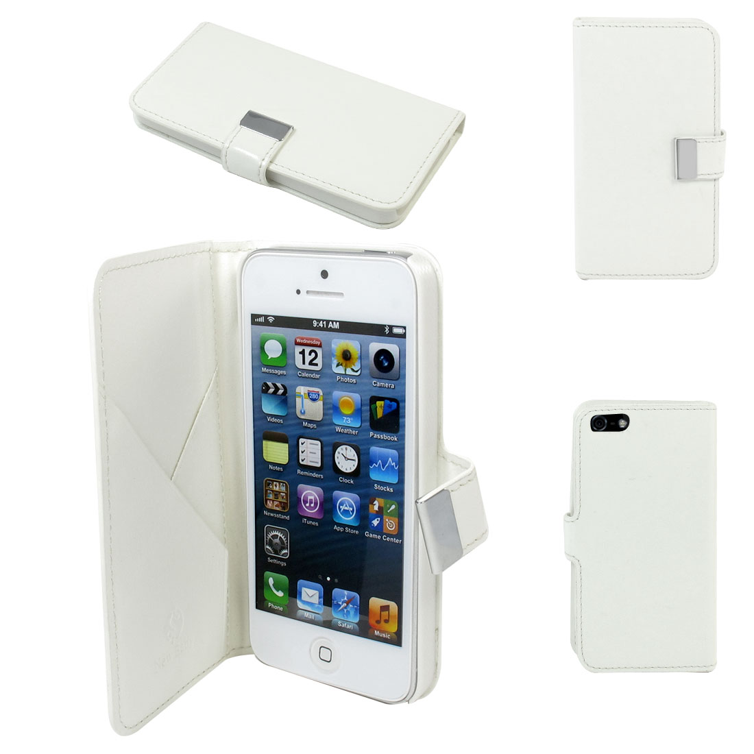 Flip Faux Leather Case Cover Vertical Pouch White for iPhone 5 5G
