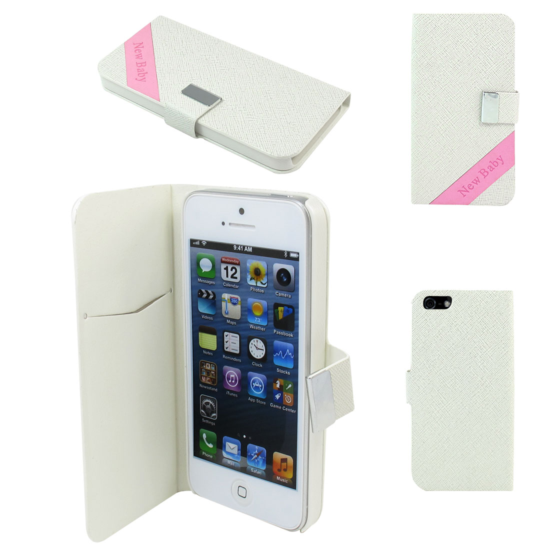 Faux Leather Magnetic Flip Case Cover Pouch Holder for Apple iPhone 5 5G