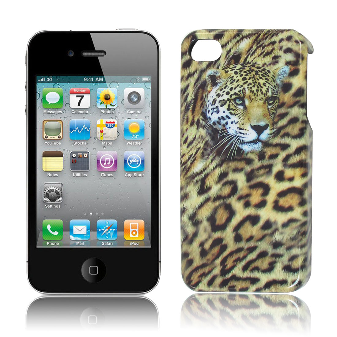 Hard Plastic Panther Head Print Back Case for Apple iPhone 4 4G
