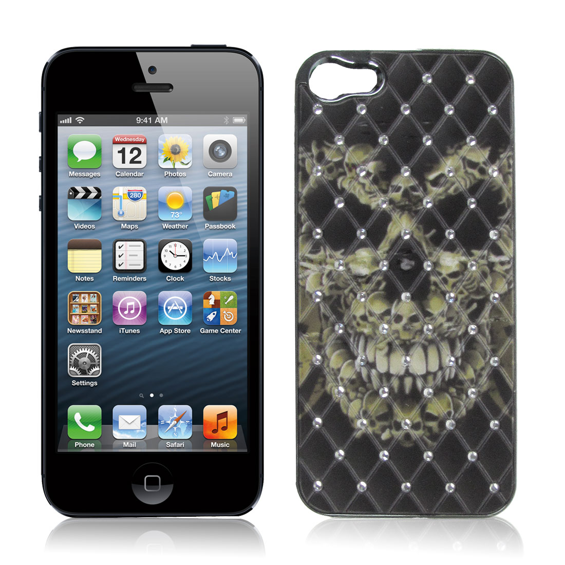 Faux Rhinestone Inlaid Black Plastic Back Case Cover for Apple iPhone 5 5G