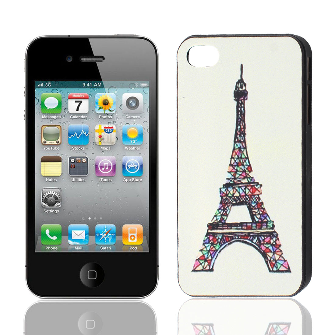 Hard Plastic White Eiffel Tower Pattern Back Case Shiled for iPhone 4 4G 4S 4GS