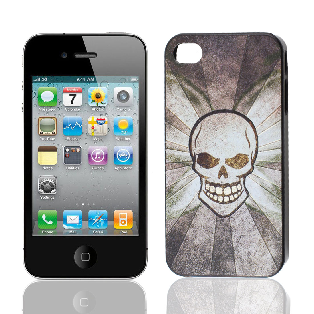 Hard Plastic Skull Pattern Black Back Case Shiled for Apple iPhone 4 4G 4S 4GS