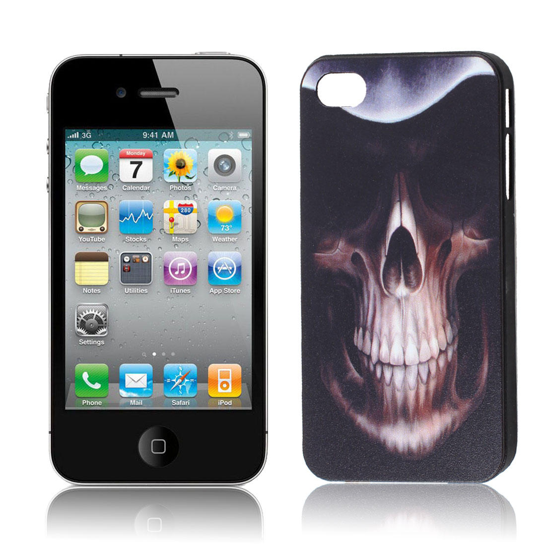 Black Hard Plastic Skull Pattern Back Case Shiled for iPhone 4G
