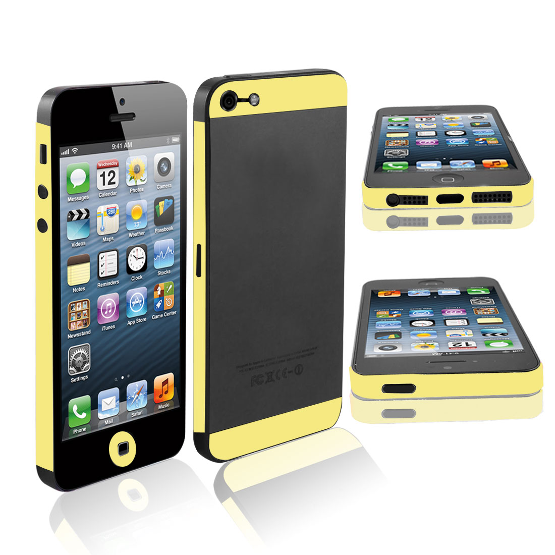 Front Back Side Edge Wrap Decal Skin Sticker for iPhone 5 5G Yellow