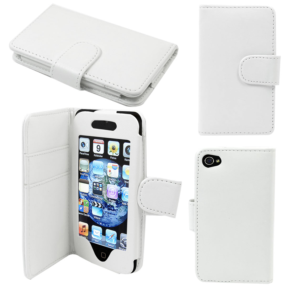 Stitched Faux Leather Magetic Flip Case Cover for iPod Touch 4G White