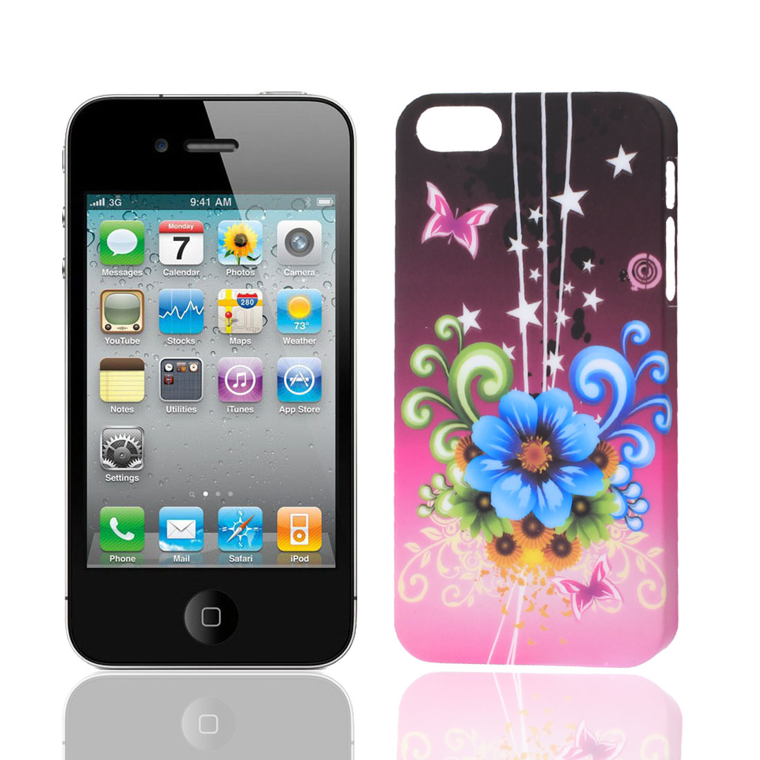 Flower Butterfly Star Pattern Fuchsia Plastic Back Case Shell for iPhone 5G