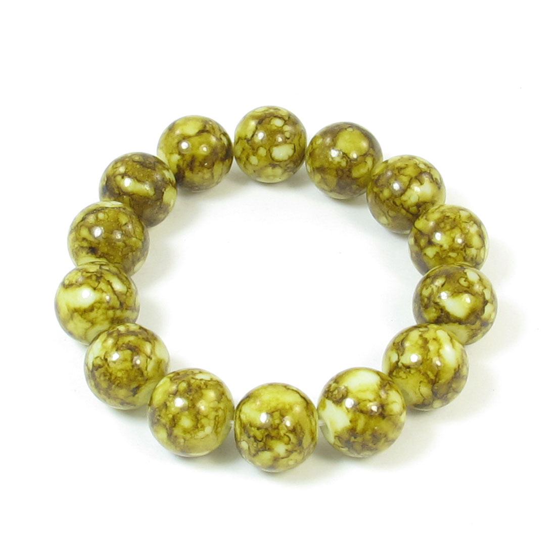 Olive Yellow Glass Round Beads Detail Elastic Wrist String Bracelet