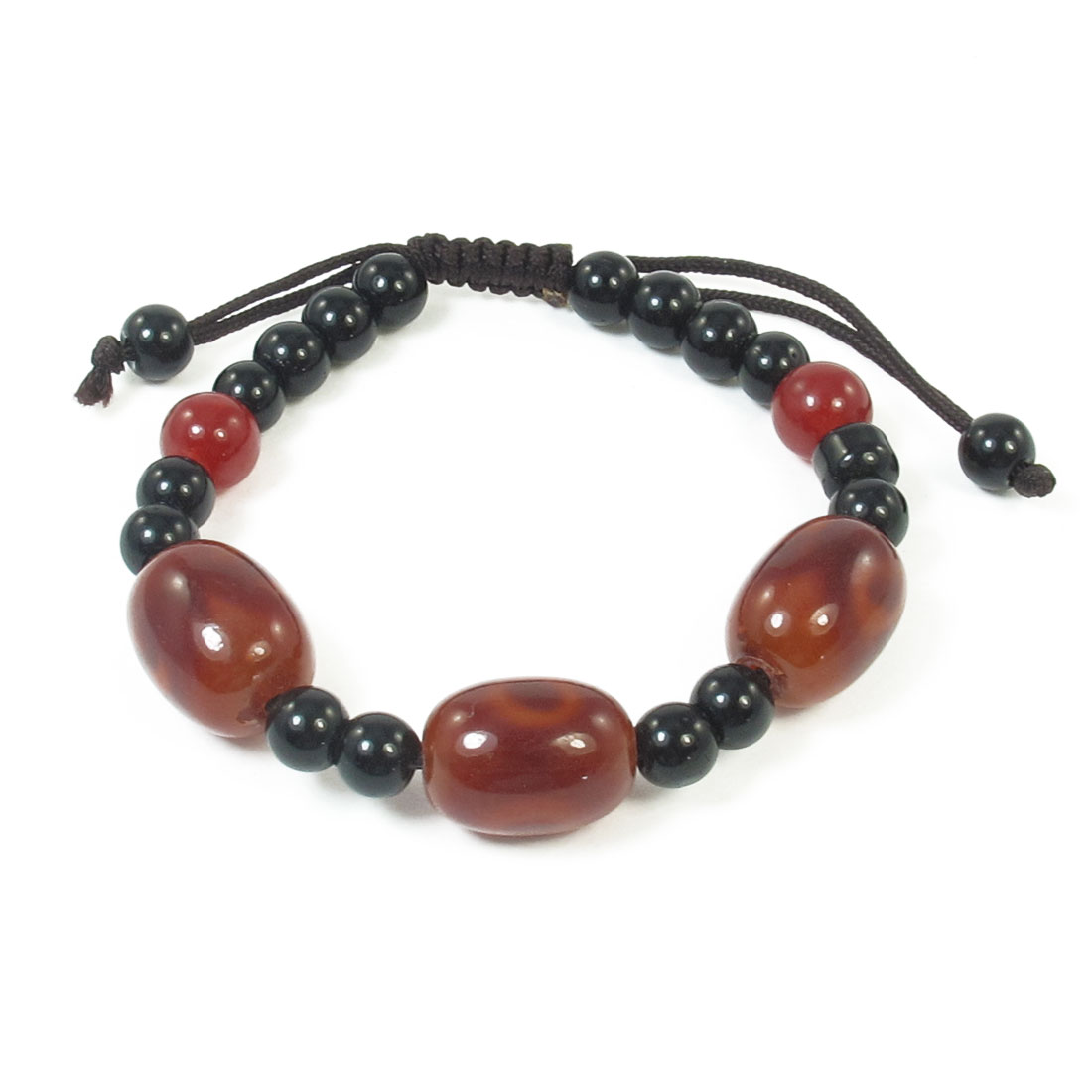 Glass Round Beads Decor Flexible Wrist String Bracelet Black Wine Red for Lady