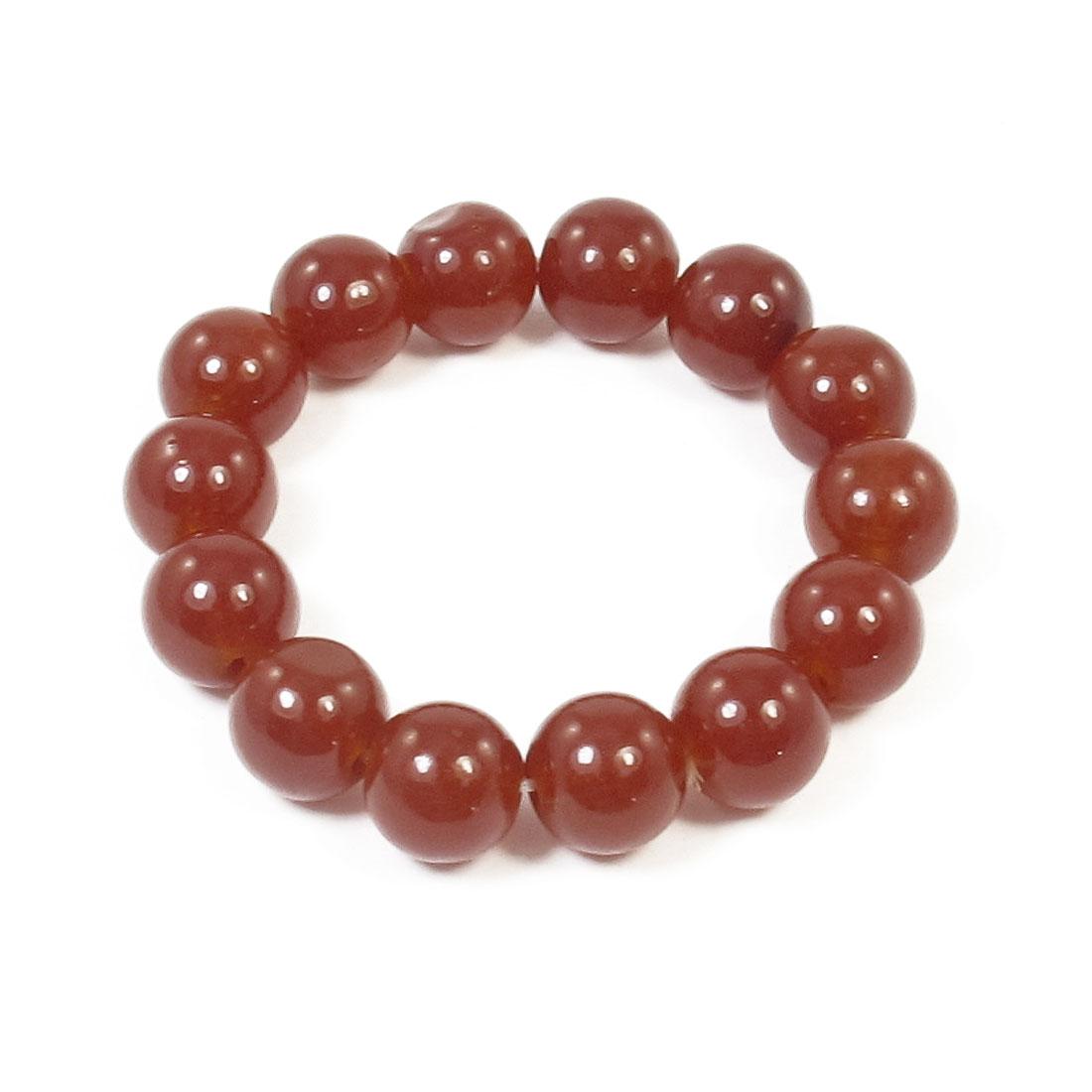 1.4cm Dia Wine Red Beads Decor Elastic Band Wrist String Bracelet