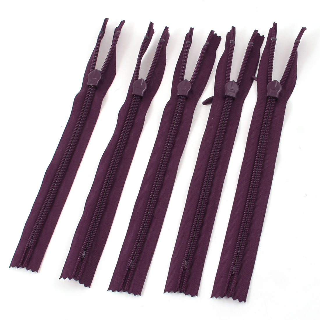 "Burgundy Rectangle Pull Tab Bags Pants Invisible 7.7"" Zipper Fastener 5 Pcs"