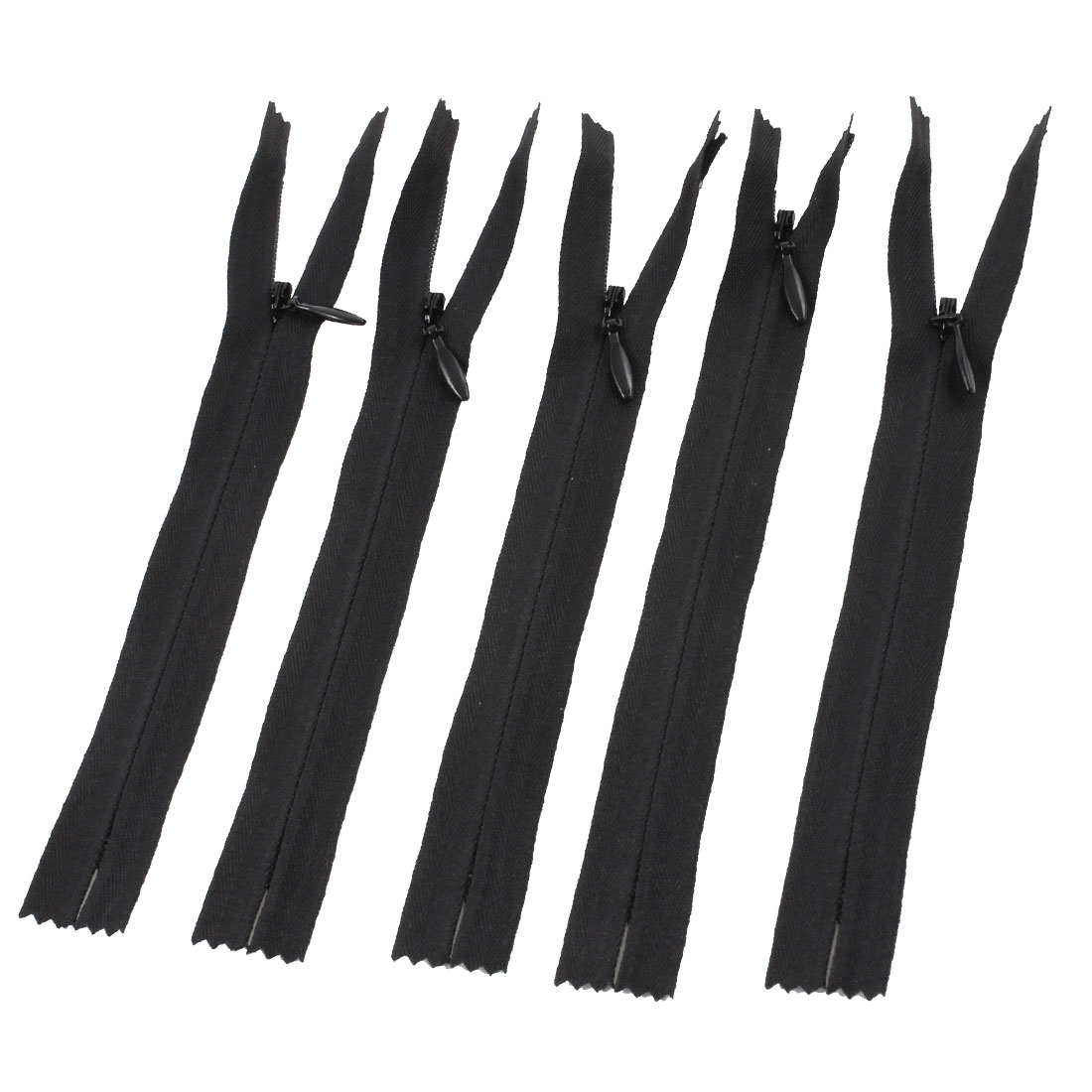"5 Pcs Black Polyester Rectangular Pull Tab Zip Fastener 7.7"" Length"