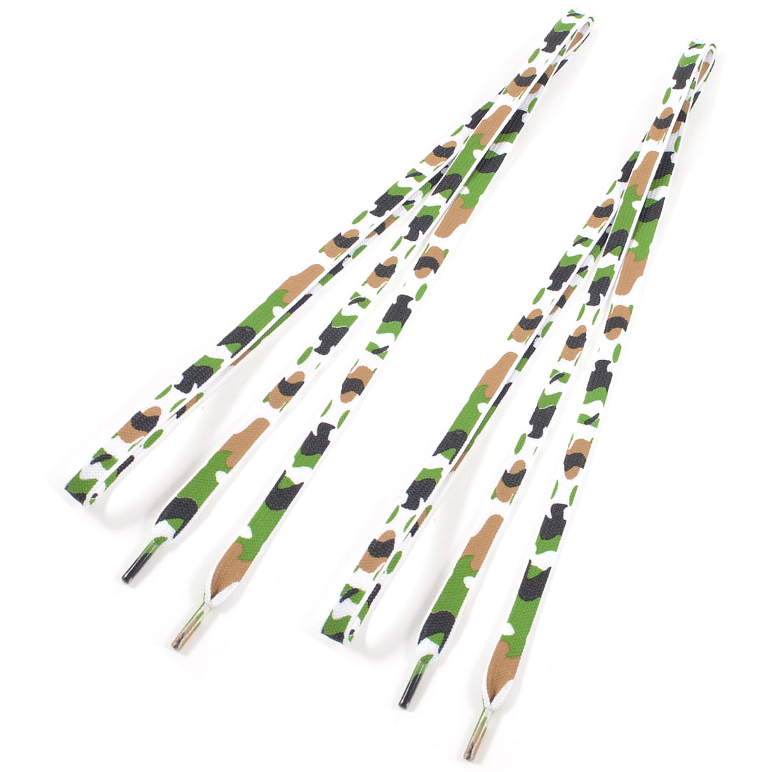 Unisex Black Green White Camouflage Print Flat Shoelaces Pair