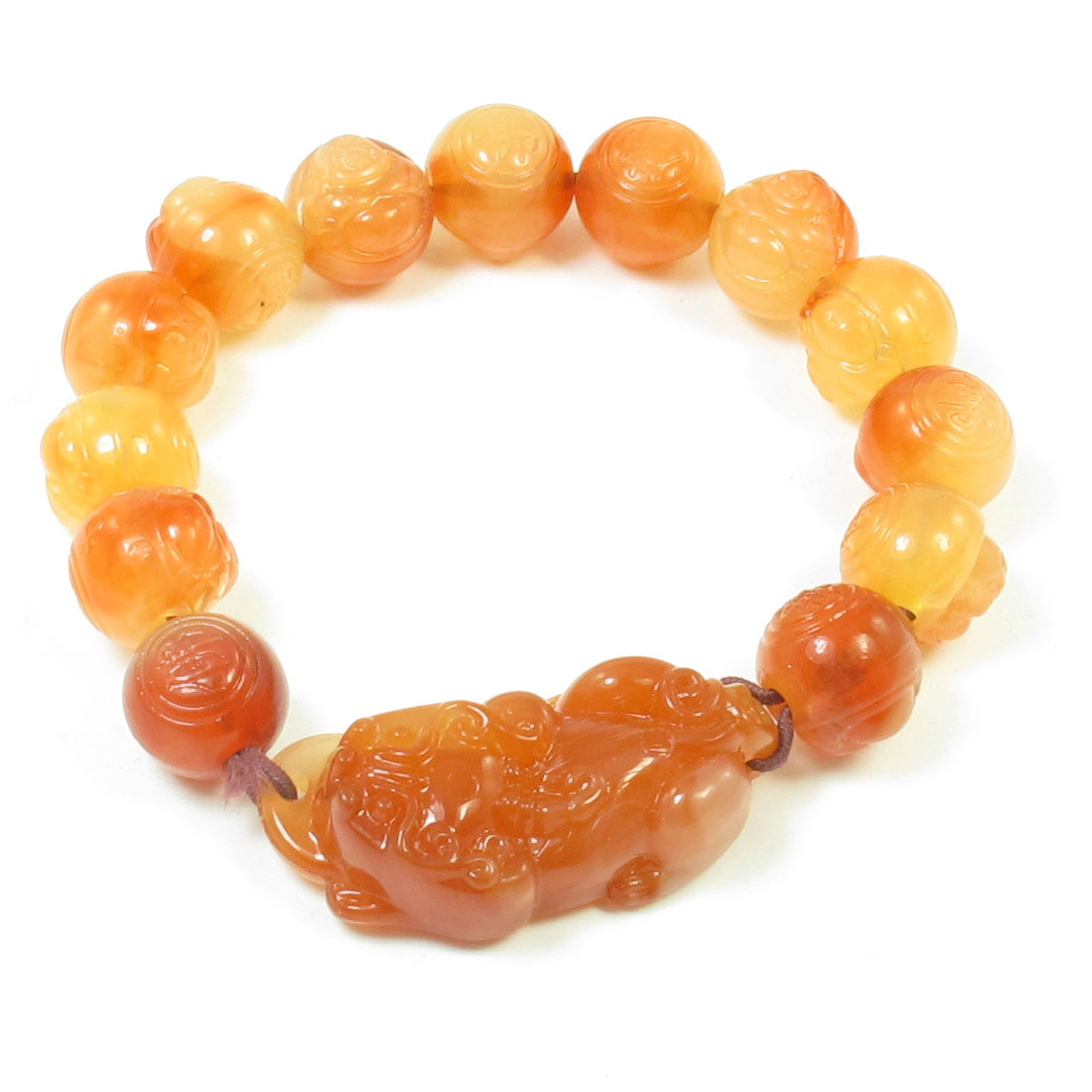 Pale Apricot Faux Jade Engraved Maitreya Buddha Beads Stretchy Wrist Bracelet